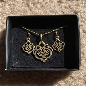 Bronze Gold Necklace & Earrings Set